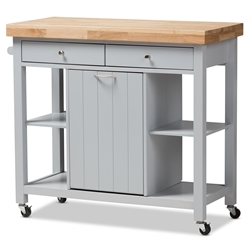 baxton studio hayward coastal and farmhouse light grey wood kitchen cart baxton studio restaurant furniture - Kitchen Carts