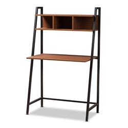 Baxton Studio Ethan Rustic Industrial Style Brown Wood and Metal Desk Baxton Studio restaurant furniture, hotel furniture, commercial furniture, wholesale home office furniture, wholesale desks, classic desks