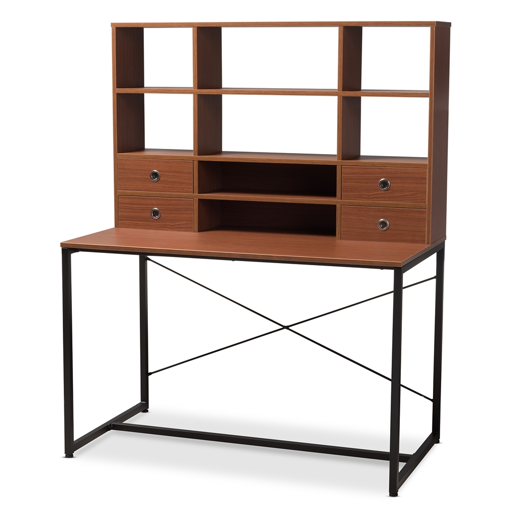 Baxton Studio Edwin Rustic Style Brown Wood And Metal 2 In 1 Bookcase Writing Desk