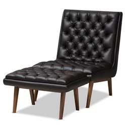 Baxton Studio Annetha Mid-Century Modern Black Faux Leather Upholstered Walnut Finished Wood Chair And Ottoman Set Baxton Studio restaurant furniture, hotel furniture, commercial furniture, wholesale living room furniture, wholesale living room set, classic living room sets