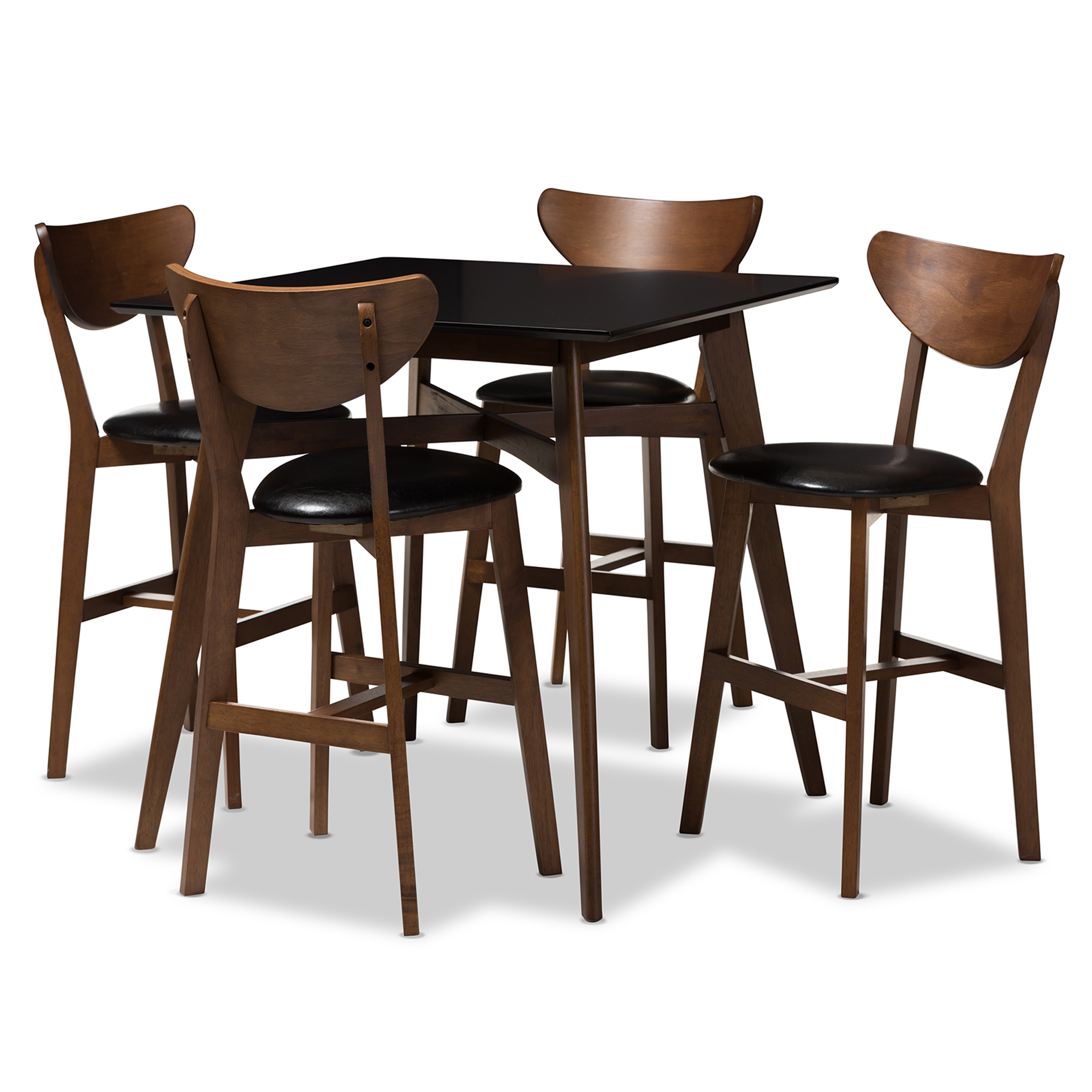 Baxton Studio Eline Mid-Century Modern Black Faux Leather Upholstered Walnut Finished 5-Piece  sc 1 st  Baxton Studio & Bar Table Sets | Bar Furniture | Affordable Modern Design | Baxton ...