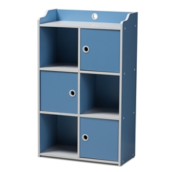 Baxton Studio Aeluin Contemporary Childrens Blue and White Finished 3-Door Bookcase Baxton Studio restaurant furniture, hotel furniture, commercial furniture, wholesale living room furniture, wholesale shelf, classic shelves