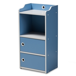 Baxton Studio Aeluin Contemporary Childrens Blue and White Finished 2-Door Bookcase Baxton Studio restaurant furniture, hotel furniture, commercial furniture, wholesale living room furniture, wholesale shelf, classic shelves