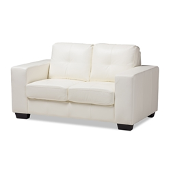 Baxton Studio Adalynn Modern and Contemporary White Faux Leather Upholstered Loveseat Baxton Studio restaurant furniture, hotel furniture, commercial furniture, wholesale living room furniture, wholesale sofa, classic loveseats