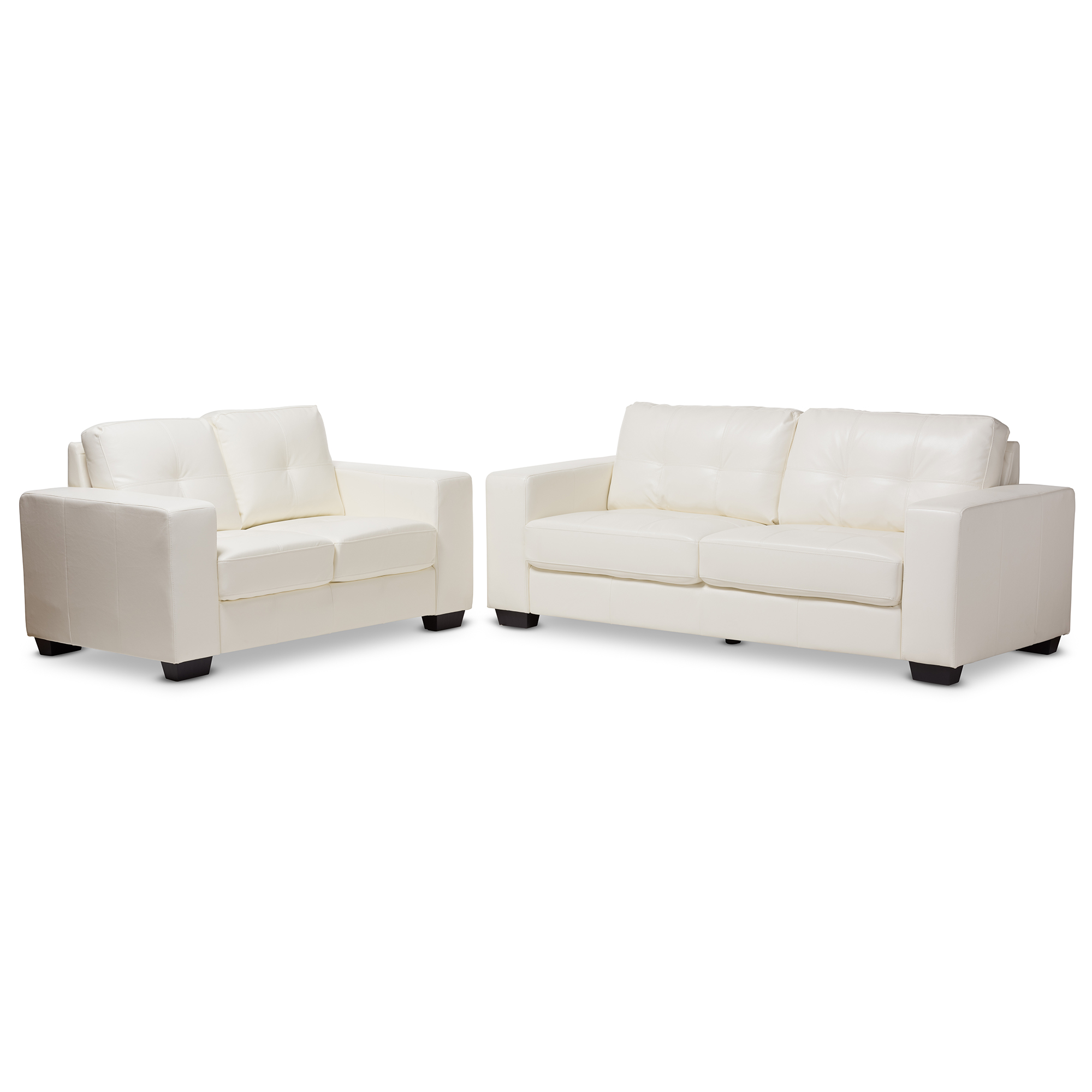 Studio living room furniture Simple Baxton Studio Adalynn Modern And Contemporary White Faux Leather Upholstered 2piece Livingroom Set Baxton Youtube Living Room Furniture Affordable Modern Design Baxton Studio