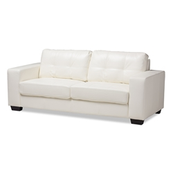 Baxton Studio Adalynn Modern and Contemporary White Faux Leather Upholstered Sofa Baxton Studio restaurant furniture, hotel furniture, commercial furniture, wholesale living room furniture, wholesale sofa, classic sofas