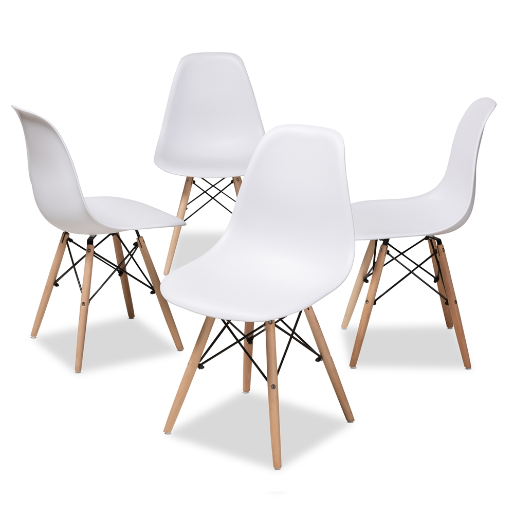 7f1e0ee6f3 Baxton Studio Sydnea Mid-Century Modern White Acrylic Brown Wood Finished Dining  Chair (Set of 4)