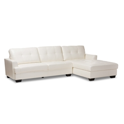 Baxton Studio Adalynn Modern and Contemporary White Faux Leather Upholstered Sectional Sofa Furniture/Sectional Sofas/Leather Sectional Sofas/Faux Leather Sectional Sofas/White Sectional Sofas
