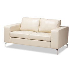 Baxton Studio Edmee Modern and Contemporary White Faux Leather Upholstered Loveseat Baxton Studio restaurant furniture, hotel furniture, commercial furniture, wholesale living room furniture, wholesale sofa, classic loveseats
