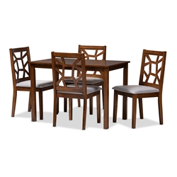 Baxton Studio Abilene Mid-Century Walnut Finished and Grey Fabric Upholstered 5-Piece Dining Set Baxton Studio restaurant furniture, hotel furniture, commercial furniture, wholesale dining furniture, wholesale dining set, classic dining set