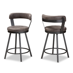 Baxton Studio Arcene Rustic and Industrial Antique Grey Faux Leather Swivel Bar Stool Set of 2 Baxton Studio restaurant furniture, hotel furniture, commercial furniture, wholesale bar furniture, wholesale bar stool, classic bar stools