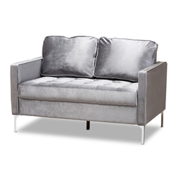 Baxton Studio Clara Modern and Contemporary Grey Velvet Fabric Upholstered 2-Seater Loveseat Baxton Studio restaurant furniture, hotel furniture, commercial furniture, wholesale living room furniture, wholesale sofa, classic loveseats