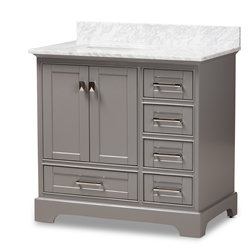 Baxton Studio Amaris 36-Inch Transitional Grey Finished Wood and Marble Single Sink Bathroom Vanity Baxton Studio restaurant furniture, hotel furniture, commercial furniture, wholesale bathroom furniture, wholesale vanities, classic vanities