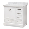 Baxton Studio Amaris 36-Inch Transitional White Finished Wood and Marble Single Sink Bathroom Vanity Baxton Studio restaurant furniture, hotel furniture, commercial furniture, wholesale bathroom furniture, wholesale vanities, classic vanities