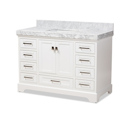 Baxton Studio Amaris 48-Inch Transitional White Finished Wood and Marble Single Sink Bathroom Vanity Baxton Studio restaurant furniture, hotel furniture, commercial furniture, wholesale bathroom furniture, wholesale vanities, classic vanities