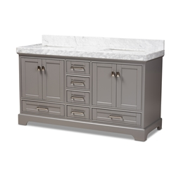 Baxton Studio Amaris 60-Inch Transitional Grey Finished Wood and Marble Double Sink Bathroom Vanity Baxton Studio restaurant furniture, hotel furniture, commercial furniture, wholesale bathroom furniture, wholesale vanities, classic vanities