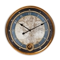 Baxton Studio Clotaire Vintage Style Antique Gold Finished Map Wall Clock Baxton Studio restaurant furniture, hotel furniture, commercial furniture, wholesale living room furniture, wholesale clocks, classic clocks