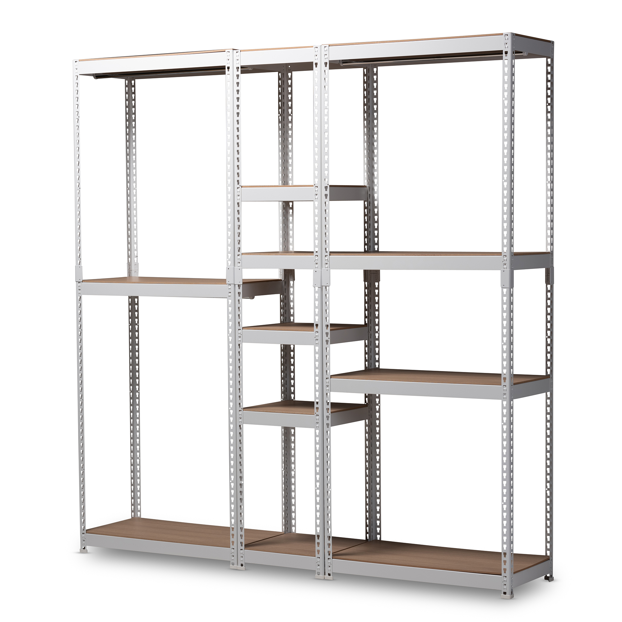 Baxton Studio Gavin Modern And Contemporary White Metal 10 Shelf Closet  Storage Racking Organizer Baxton