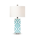 Baxton Studio Rowen Modern and Contemporary Turquoise and White Diamond Patterned Ceramic Table Lamp Baxton Studio restaurant furniture, hotel furniture, commercial furniture, wholesale lighting, wholesale Table Lamps, classic Table Lamps