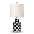 Baxton Studio Tierney Modern and Contemporary Dark Blue and White Quatrefoil Patterned Ceramic Table Lamp Baxton Studio restaurant furniture, hotel furniture, commercial furniture, wholesale lighting, wholesale Table Lamps, classic Table Lamps