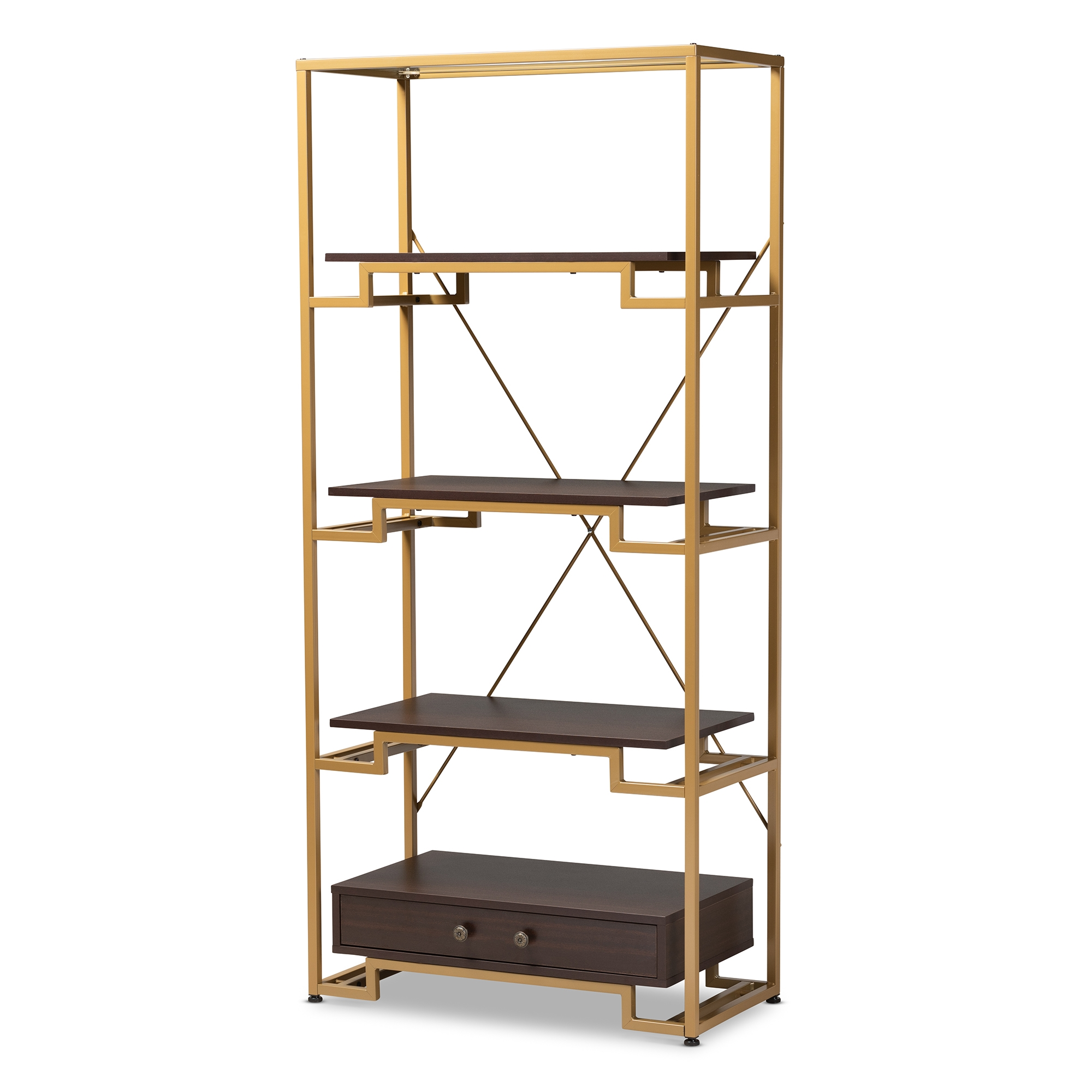 Superbe Baxton Studio Cerelia Modern And Contemporary Gold Tone Steel And Dark  Brown Finished Wood 3