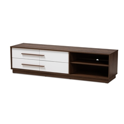 Baxton Studio Mette Mid-Century Modern Two-Tone White and Walnut Finished 4-Drawer Wood TV Stand Baxton Studio restaurant furniture, hotel furniture, commercial furniture, wholesale bedroom furniture, wholesale tv stand, classic tv stand