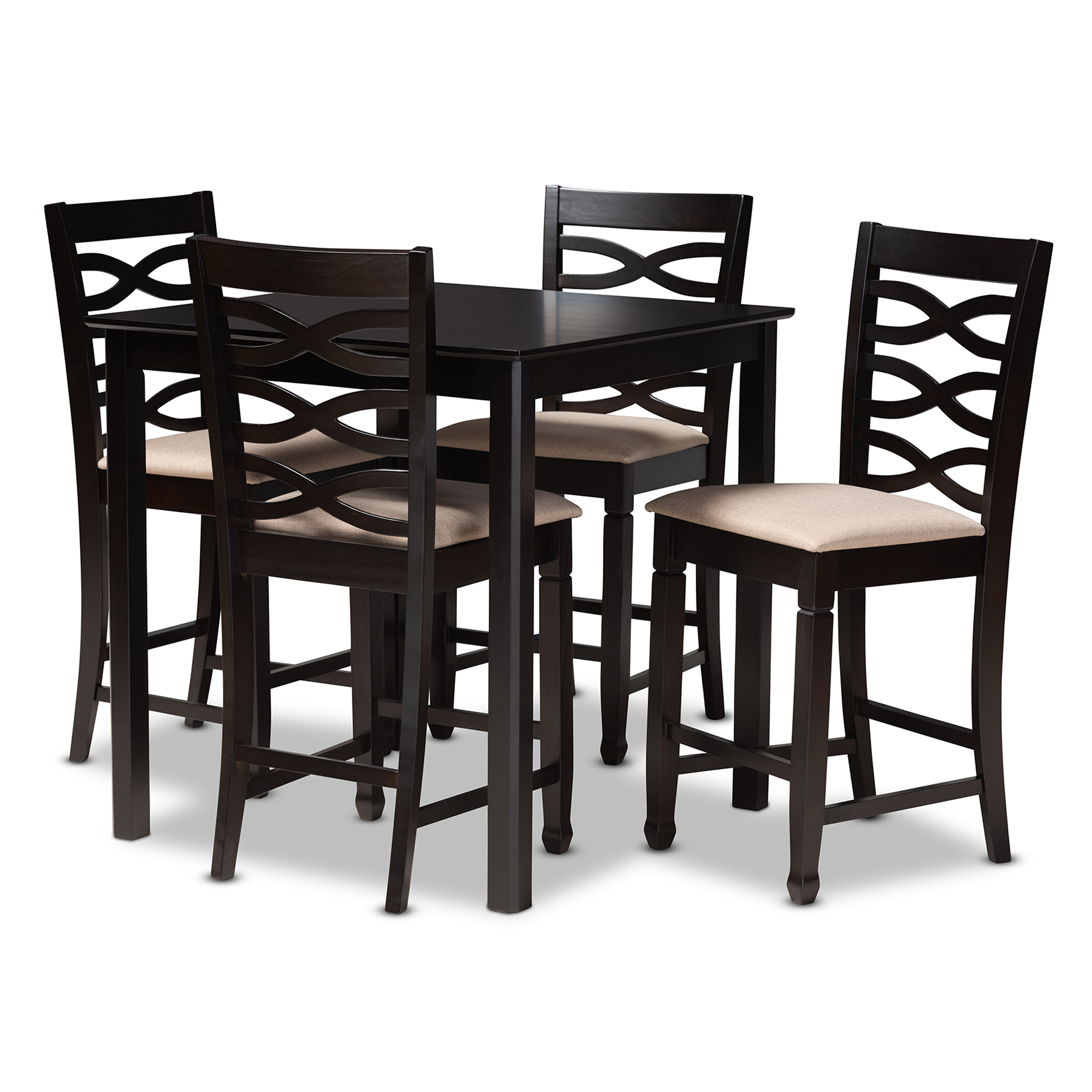 Baxton Studio Lanier Modern And Contemporary Sand Fabric Upholstered  Espresso Brown Finished 5 Piece Wood