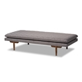 Baxton Studio Marit Mid-Century Modern Grey Fabric Upholstered Walnut Finished Wood Daybed Baxton Studio restaurant furniture, hotel furniture, commercial furniture, wholesale living room furniture, wholesale daybed, classic daybed