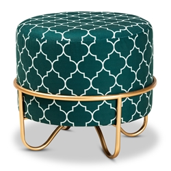 Baxton Studio Candice Glam and Luxe Teal Green Quatrefoil Velvet Fabric Upholstered Gold Finished Metal Ottoman Baxton Studio restaurant furniture, hotel furniture, commercial furniture, wholesale living room furniture, wholesale ottoman, classic ottoman