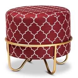 Baxton Studio Candice Glam and Luxe Red Quatrefoil Velvet Fabric Upholstered Gold Finished Metal Ottoman Baxton Studio restaurant furniture, hotel furniture, commercial furniture, wholesale living room furniture, wholesale ottoman, classic ottoman
