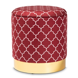 Baxton Studio Serra Glam and Luxe Red Quatrefoil Velvet Fabric Upholstered Gold Finished Metal Storage Ottoman Baxton Studio restaurant furniture, hotel furniture, commercial furniture, wholesale living room furniture, wholesale ottoman, classic ottoman