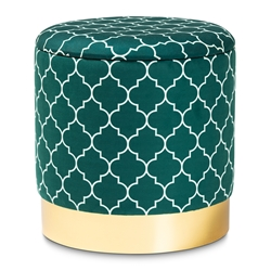 Baxton Studio Serra Glam and Luxe Teal Green Quatrefoil Velvet Fabric Upholstered Gold Finished Metal Storage Ottoman Baxton Studio restaurant furniture, hotel furniture, commercial furniture, wholesale living room furniture, wholesale ottoman, classic ottoman