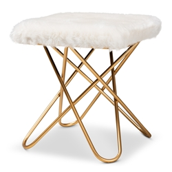 Baxton Studio Valle Glam and Luxe White Faux Fur Upholstered Gold Finished Metal Ottoman Baxton Studio restaurant furniture, hotel furniture, commercial furniture, wholesale living room furniture, wholesale ottoman, classic ottoman