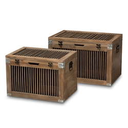Baxton Studio Clement Rustic Transitional Medium Oak Finished 2-Piece Wood Spindle Storage Trunk Set Baxton Studio restaurant furniture, hotel furniture, commercial furniture, wholesale living room furniture, wholesale storage trunks, classic storage trunks