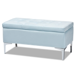 Baxton Studio Mabel Modern and Contemporary Transitional Light Blue Velvet Fabric Upholstered Silver Finished Storage Ottoman Baxton Studio > Living Room Furniture > Ottomans > Standard Ottomans