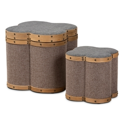 Baxton Studio Marilyn Modern and Contemporary Transitional Grey and Brown Fabric Upholstered 2-Piece Clover Shaped Storage Ottoman Set Baxton Studio > Living Room Furniture > Ottomans > Storage Ottomans