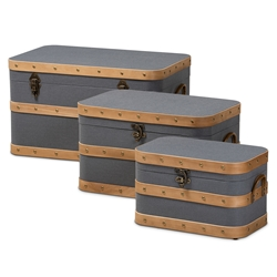 Baxton Studio Jonathon Modern and Contemporary Transitional Grey Fabric Upholstered and Oak Brown Finished 3-Piece Storage Trunk Set Baxton Studio > Living Room Furniture > Ottomans > Storage Ottomans