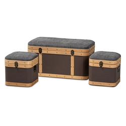 Baxton Studio Clarence Modern and Contemporary Transitional Dark Grey and Dark Brown Fabric Upholstered Oak Brown Finished 3-Piece Storage Ottoman Trunk Set Baxton Studio > Living Room Furniture > Ottomans > Storage Ottomans
