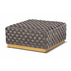 Baxton Studio Noah Luxe and Glam Grey Velvet Fabric Upholstered and Gold Finished Square Cocktail Ottoman Baxton Studio restaurant furniture, hotel furniture, commercial furniture, wholesale living room furniture, wholesale ottoman, classic ottoman