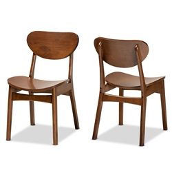 Baxton Studio Katya Mid-Century Modern Walnut Brown Finished Wood 2-Piece Dining Chair Set