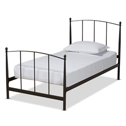Baxton Studio Lana Modern and Contemporary Black Finished Metal Twin Size Platform Bed