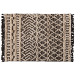 Baxton Studio Heino Modern and Contemporary Ivory and Charcoal Handwoven Wool Area Rug