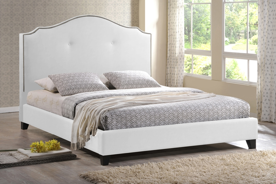 Baxton Studio Marsha Scalloped White Modern Bed with Upholstered Headboard - Queen Size Baxton Studio Marsha Scalloped White Modern Bed with Upholstered Headboard - Queen Size, BSBBT6292 Bed-White-Queen, Baxton Studio Affordable Modern Design