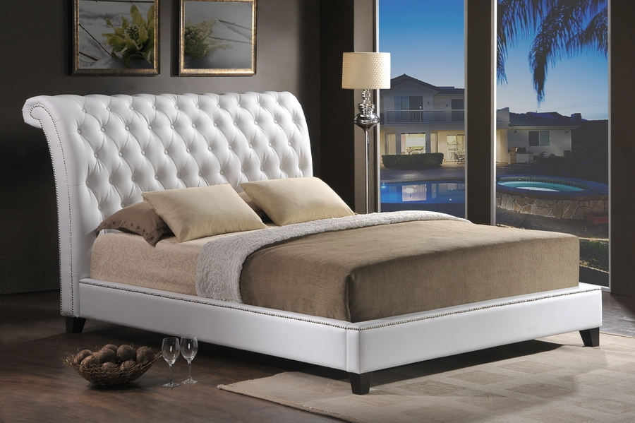 Baxton Studio Jazmin Tufted White Modern Bed with Upholstered Headboard - Queen Size Baxton Studio Jazmin Tufted White Modern Bed with Upholstered Headboard - Queen Size, BSBBT6293 Bed-White Queen, Baxton Studio Affordable Modern Design
