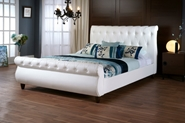 Baxton Studio Ashenhurst White Modern Sleigh Bed with Upholstered Headboard - Queen Size Ashenhurst White Modern Sleigh Bed with Upholstered Headboard - Queen Size, BSCF8201B-QUEEN-WHITE, Baxton Studio Affordable Modern Design