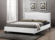 Baxton Studio Battersby White Modern Bed with Upholstered Headboard - Full Size Battersby White Modern Bed with Upholstered Headboard - Full Size, BSCF8276-FULL-WHITE, Baxton Studio Affordable Modern Design