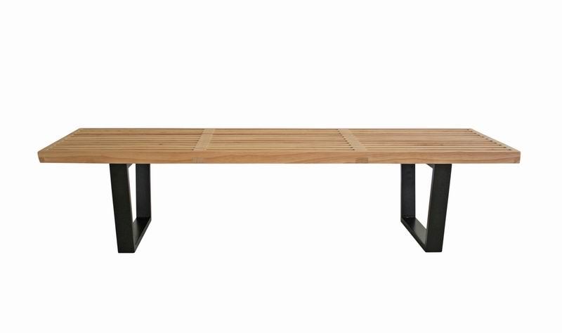 nelson bench - natural wood color wood platform bench table