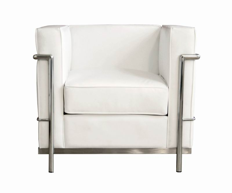Baxton Studio Le Corbusier Chair in White Leather w/ Chrome - Petite  sc 1 st  Baxton Studio : white leather club chairs - Cheerinfomania.Com
