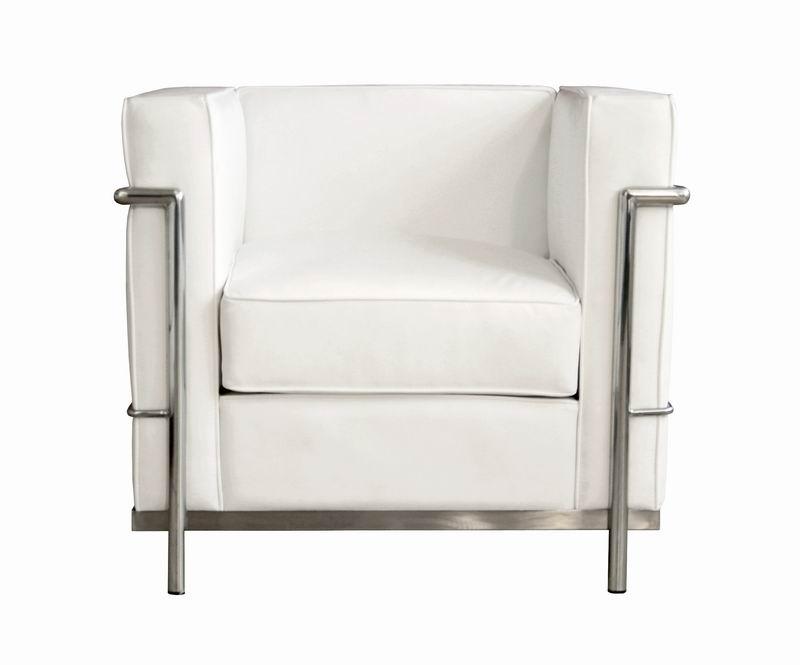Nice Baxton Studio Le Corbusier Chair In White Leather W/ Chrome   Petite