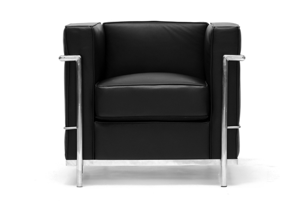 Le Corbusier Chair In Black Leather W Chrome Petite